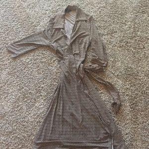 Brown and tan wrap dress